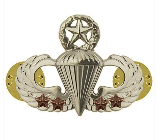 Vanguard ARMY BADGE: MASTER COMBAT PARACHUTE FOURTH AWARD - MIRROR FINISH