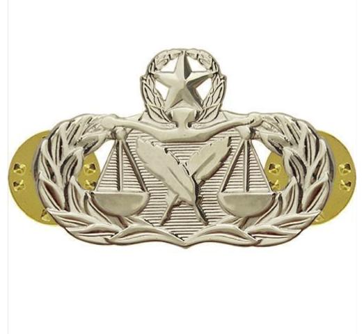 Vanguard AIR FORCE BADGE: PARALEGAL: MASTER - MIDSIZE