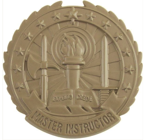 Vanguard ARMY IDENTIFICATION BADGE SUBDUED METAL: MASTER INSTRUCTOR - BROWN