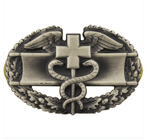 Vanguard ARMY BADGE: COMBAT MEDICAL FIRST AWARD - SILVER OXIDIZED