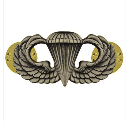 Vanguard ARMY BADGE: PARACHUTE - SILVER OXIDIZED