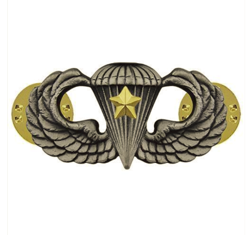 Vanguard ARMY BADGE: COMBAT PARACHUTE FIFTH AWARD - SILVER OXIDIZED