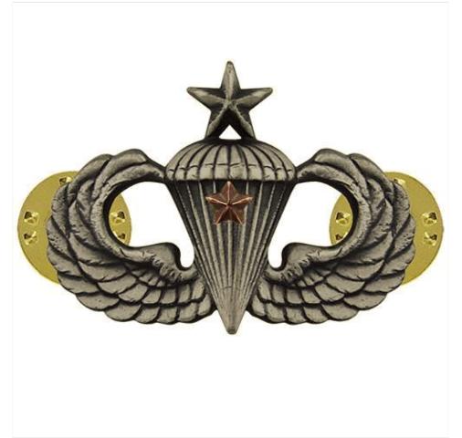 Vanguard ARMY BADGE: SENIOR COMBAT PARACHUTE FIRST AWARD - SILVER OXIDIZED