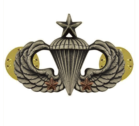 Vanguard ARMY BADGE: SENIOR COMBAT PARACHUTE SECOND AWARD - SILVER OXIDIZED