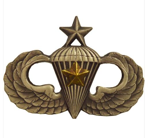 Vanguard ARMY BADGE: SENIOR COMBAT PARACHUTE FIFTH AWARD - SILVER OXIDIZED