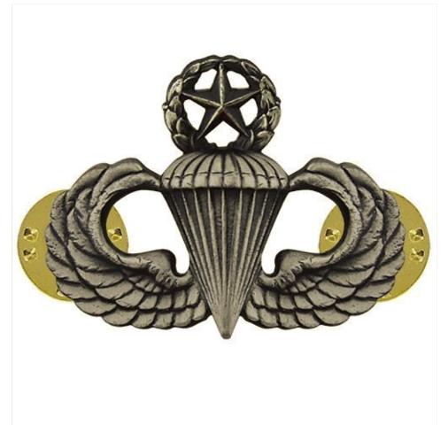 Vanguard ARMY BADGE: MASTER PARACHUTE - REGULATION SIZE, SILVER OXIDIZED
