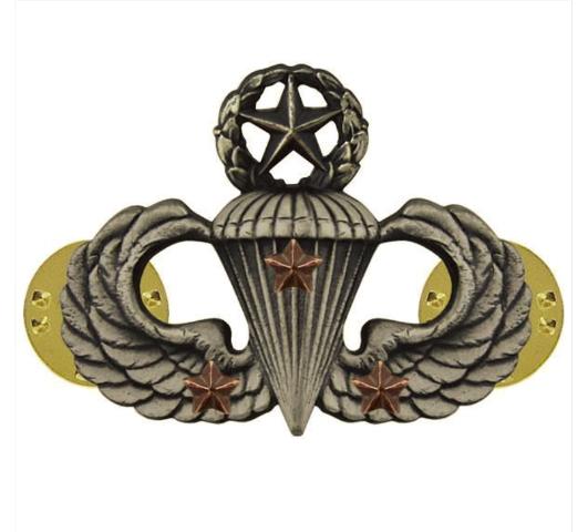 Vanguard ARMY BADGE: MASTER COMBAT PARACHUTE THIRD AWARD - SILVER OXIDIZED