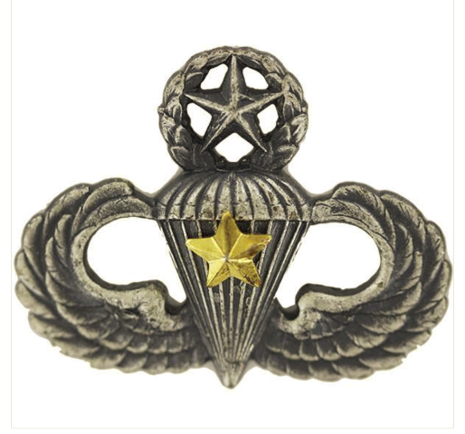 Vanguard ARMY BADGE: MASTER COMBAT PARACHUTE FIFTH AWARD - SILVER OXIDIZED