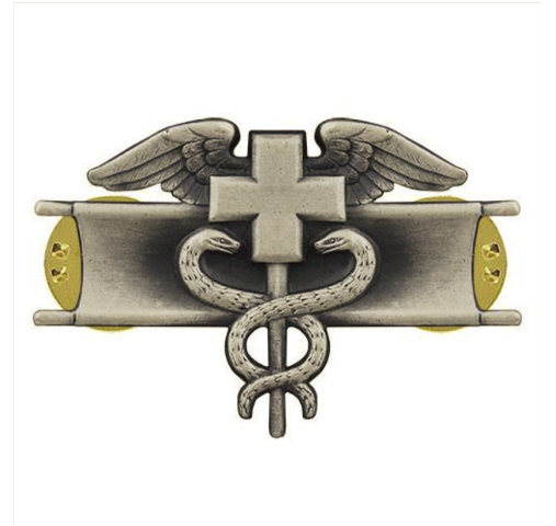 Vanguard ARMY BADGE: EXPERT FIELD MEDICAL - SILVER OXIDIZED