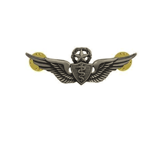 Vanguard ARMY DRESS BADGE: MASTER FLIGHT SURGEON - MINIATURE, SILVER OXIDIZED
