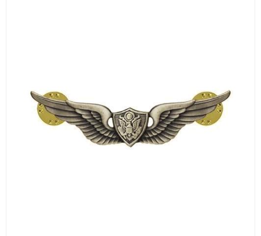 Vanguard ARMY DRESS BADGE: AIRCRAFT CREWMAN: AIRCREW MINIATURE, SILVER OXIDIZED