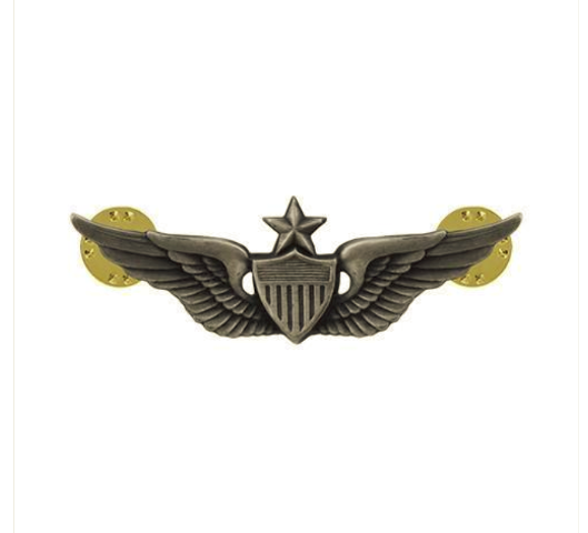 "Vanguard ARMY BADGE: SENIOR AVIATOR - 2"" BLOUSE MINIATURE, SILVER OXIDIZED"
