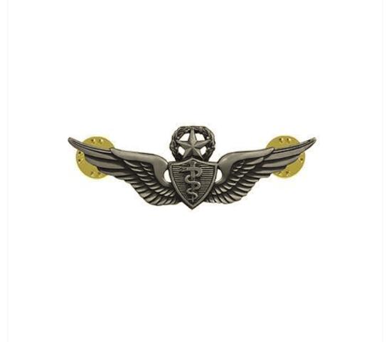 Vanguard ARMY BADGE: MASTER FLIGHT SURGEON - MINIATURE, SILVER OXIDIZED
