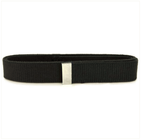 Vanguard BELT: BLACK COTTON WITH SILVER MIRROR TIP - MALE XL