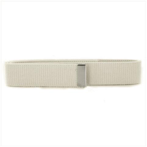 Vanguard NAVY BELT: WHITE COTTON WITH SILVER MIRROR TIP - FEMALE XL