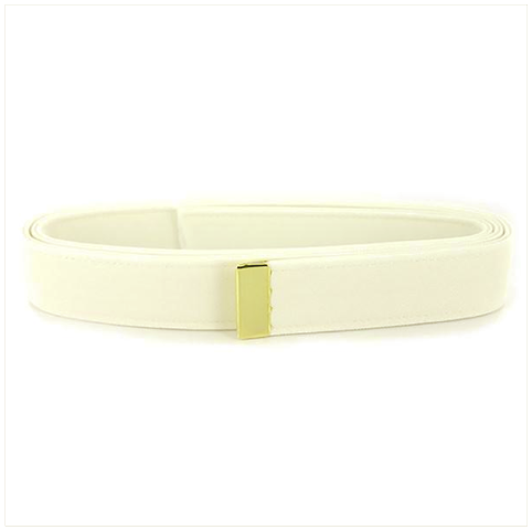 Vanguard NAVY BELT: WHITE CNT WITH 24K GOLD TIP - MALE XL