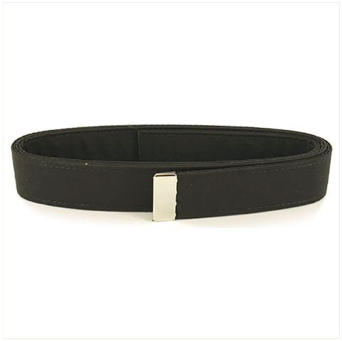 Vanguard NAVY BELT: BLACK POLY-WOOL WITH SILVER MIRROR TIP - MALE