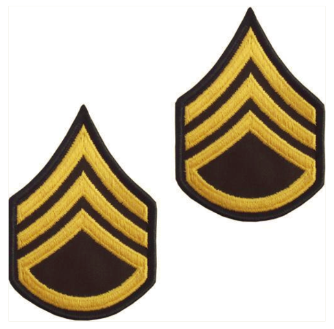 Vanguard ARMY CHEVRON: STAFF SERGEANT - GOLD EMBROIDERED ON GREEN, MALE