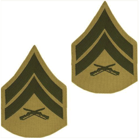 Vanguard MARINE CORPS CHEVRON: CORPORAL - GREEN EMBROIDERED ON KHAKI, MALE