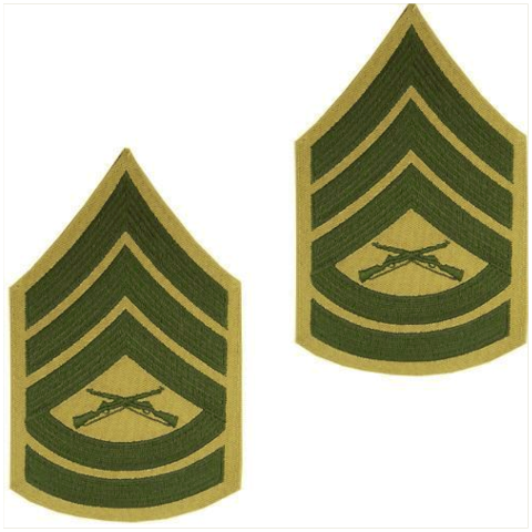 Vanguard MARINE CORPS CHEVRON: GUNNERY SERGEANT GREEN EMBROIDERED ON KHAKI, MALE