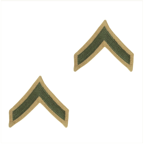 Vanguard MARINE CORPS CHEVRON: PRIVATE FIRST CLASS - GREEN ON KHAKI FOR FEMALE