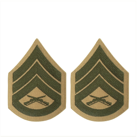 Vanguard MARINE CORPS CHEVRON: STAFF SERGEANT - GREEN EMBROIDERED ON KHAKI, FEMALE