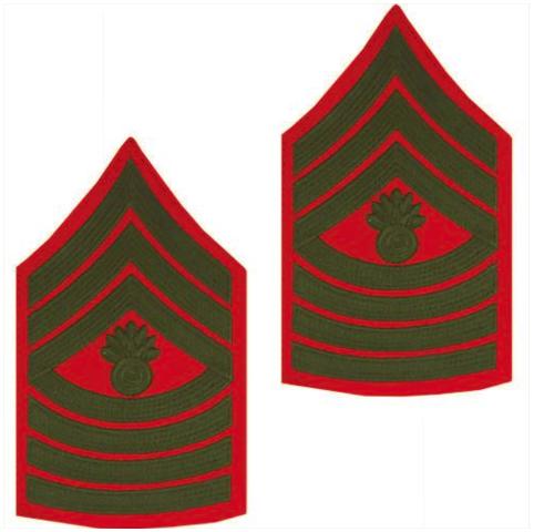 Vanguard MARINE CORPS CHEVRON: MASTER GUNNERY SERGEANT - GREEN ON RED FOR MALE