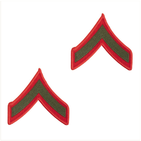 Vanguard MARINE CORPS CHEVRON: PRIVATE FIRST CLASS - GREEN EMBROIDERED ON RED, FEMALE