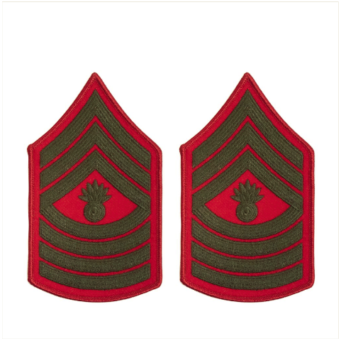 Vanguard MARINE CORPS CHEVRON: MASTER GUNNERY SERGEANT - GREEN ON RED FOR FEMALE