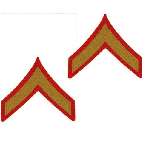 Vanguard MARINE CORPS CHEVRON: PRIVATE FIRST CLASS - GOLD EMBROIDERED ON RED, MALE