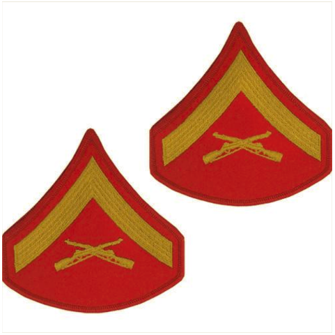 Vanguard MARINE CORPS CHEVRON: LANCE CORPORAL - GOLD EMBROIDERED ON RED, MALE