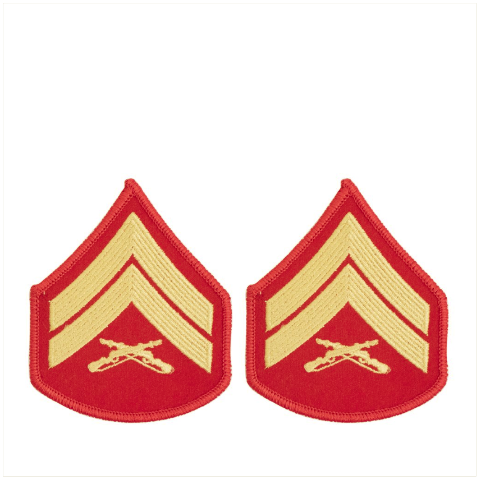 Vanguard MARINE CORPS CHEVRON: CORPORAL - GOLD EMBROIDERED ON RED, FEMALE