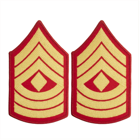 Vanguard MARINE CORPS CHEVRON: FIRST SERGEANT - GOLD EMBROIDERED ON RED, FEMALE
