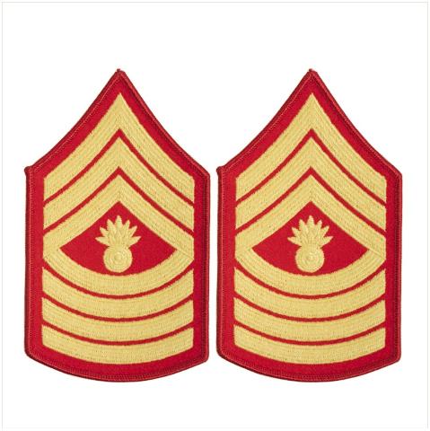 Vanguard MARINE CORPS CHEVRON: MASTER GUNNERY SERGEANT - GOLD ON RED FOR FEMALE