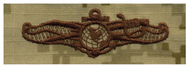 Vanguard NAVY EMBROIDERED BADGE: INFO DOMINANCE WARFARE OFFICER - DESERT DIGITAL