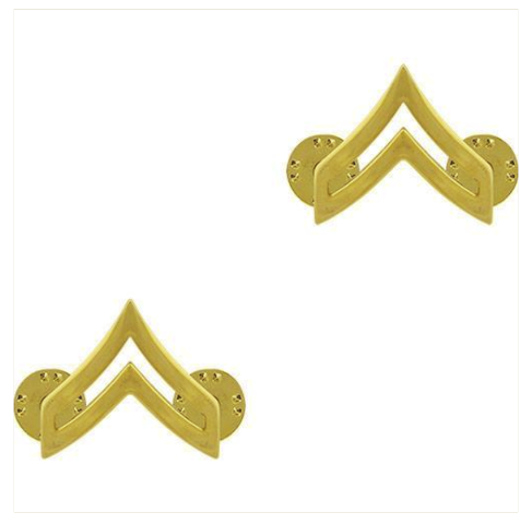 Vanguard ARMY CHEVRON: CORPORAL - 22K GOLD PLATED