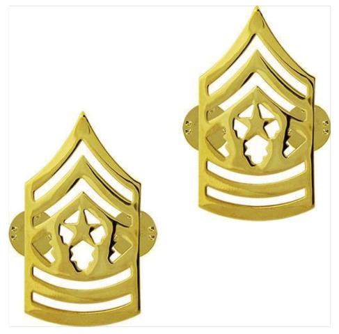 Vanguard ARMY CHEVRON: COMMAND SERGEANT MAJOR - 22K GOLD PLATED