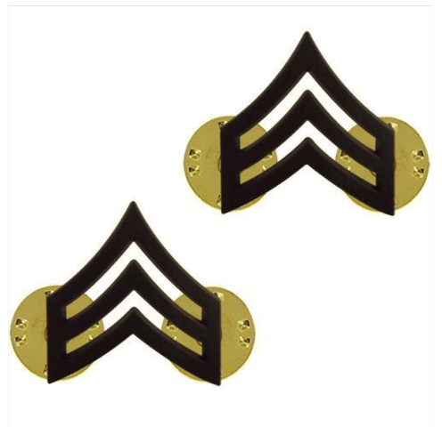 Vanguard ARMY CHEVRON: SERGEANT (SGT) - BLACK METAL