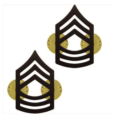 Vanguard ARMY CHEVRON: MASTER SERGEANT - BLACK METAL