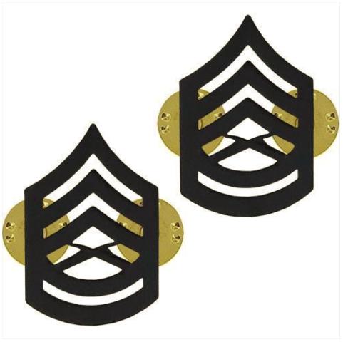 Vanguard MARINE CORPS CHEVRON: GUNNERY SERGEANT - BLACK METAL, SOLID BRASS