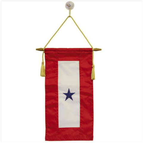 """Vanguard FLAG: SERVICE BANNER WITH ONE BLUE STAR 8"""" x 15"""""""