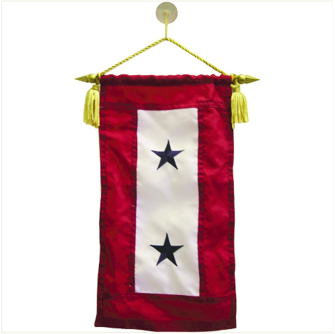 "Vanguard FLAG: SERVICE BANNER WITH TWO BLUE STARS 8"" x 15"""