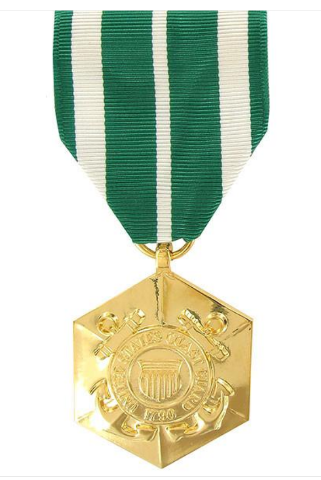 Vanguard FULL SIZE MEDAL COAST GUARD COMMENDATION - 24K GOLD PLATED