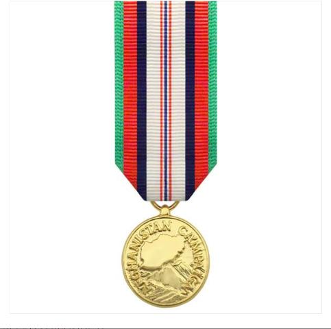 Vanguard (Mini) Miniature Afghanistan Campaign Military Award Medal- 24k Gold Plated
