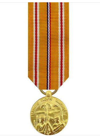 Vanguard MINIATURE MEDAL- 24K GOLD PLATED ASIATIC PACIFIC CAMPAIGN