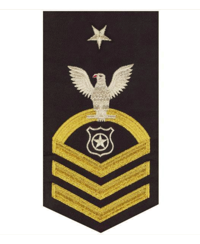 Vanguard NAVY E8 MALE RATING BADGE: MASTER AT ARMS - SEAWORTHY GOLD ON BLUE