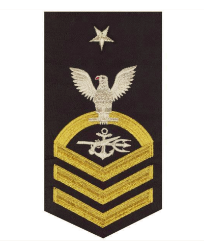 Vanguard NAVY E8 MALE RATING BADGE: SPECIAL WARFARE OPERATOR - SEAWORTHY GOLD ON BLUE