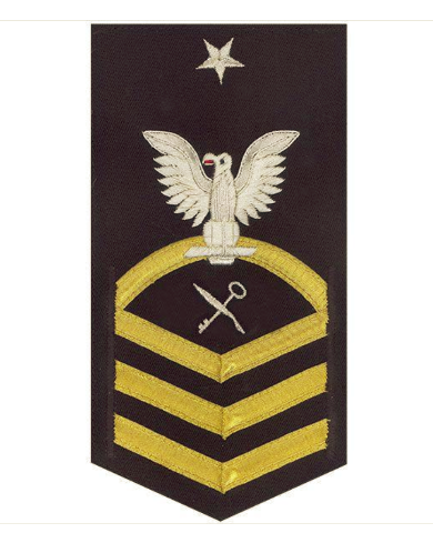 Vanguard NAVY E8 MALE RATING BADGE: SHIP'S SERVICEMAN - VANCHIEF ON BLUE