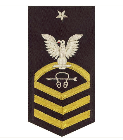 Vanguard NAVY E8 MALE RATING BADGE: SONAR TECHNICIAN - VANCHIEF ON BLUE