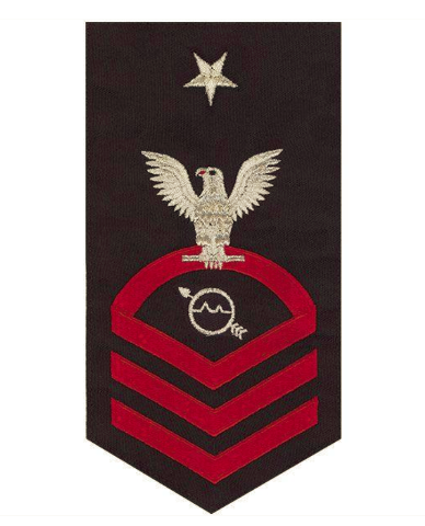 Vanguard NAVY E8 MALE RATING BADGE: OPERATIONS SPECIALIST SEAWORTHY RED ON BLUE